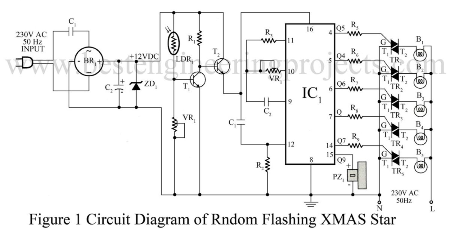 circuit diagram of random flashing xmas star