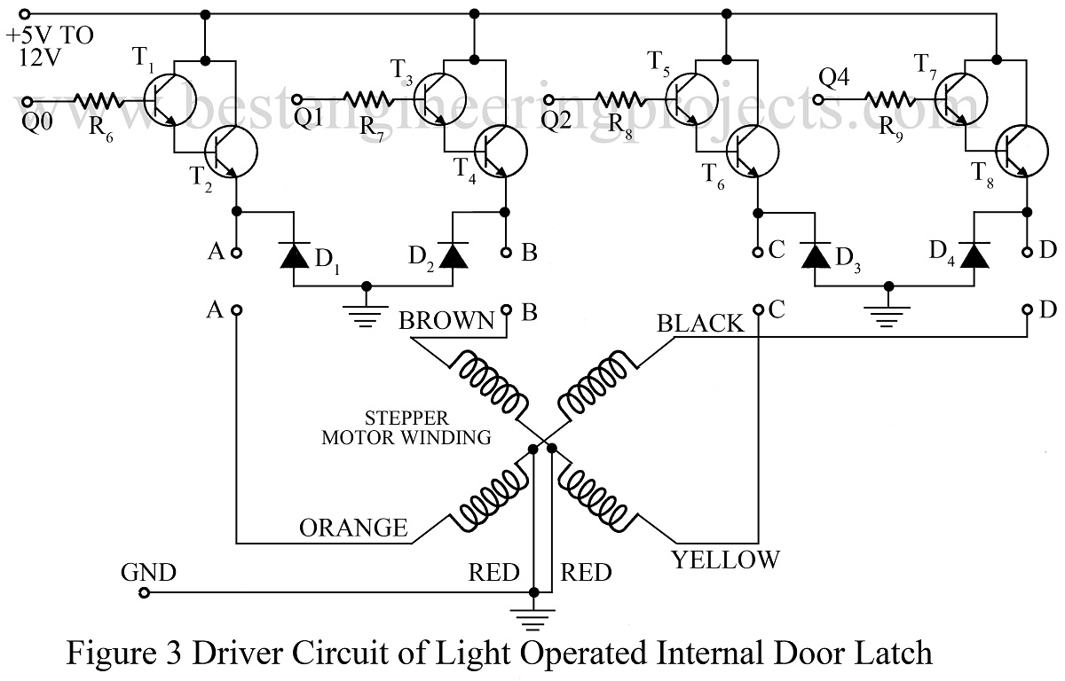 driver circuit of light operated internal door latch