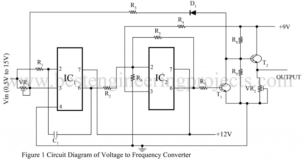 circuit diagram of voltage into frequency converter