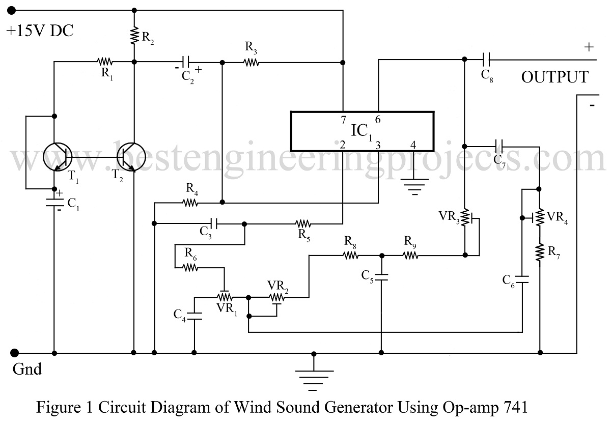 wind sound generator using ic 741 ic 741 based projects. Black Bedroom Furniture Sets. Home Design Ideas