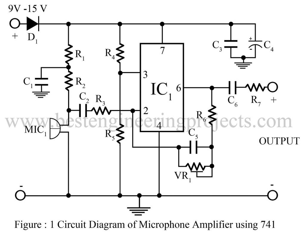 741 op amp wiring diagram wiring diagrams schematics microphone amplifier using op amp 741 op amp 741 based projects 741 op amp circuit diagram pooptronica Images