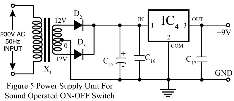 power supply unit for sound operated on off switch