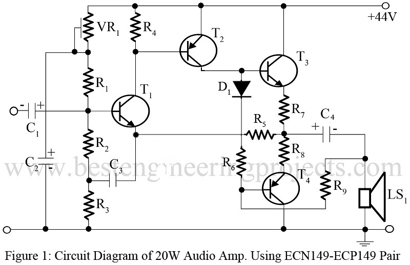 20w audio amp using ecn149 and ecp149 pair