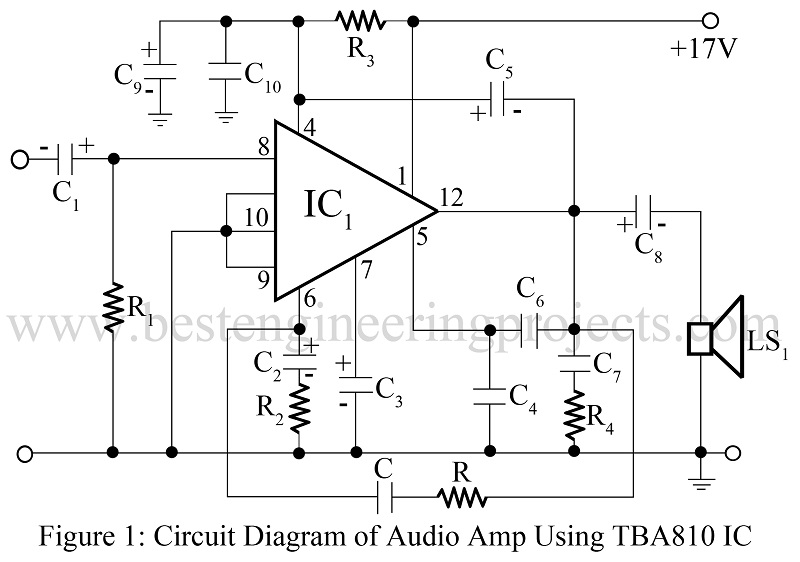 7w audio amplifier using tba810