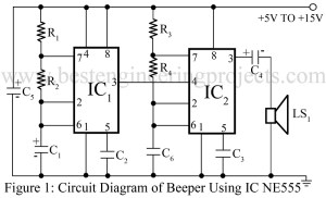 circuit diagram of beeper using timer ic 555
