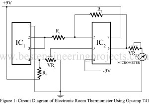 circuit diagram of electronic room thermometer using op amp 741