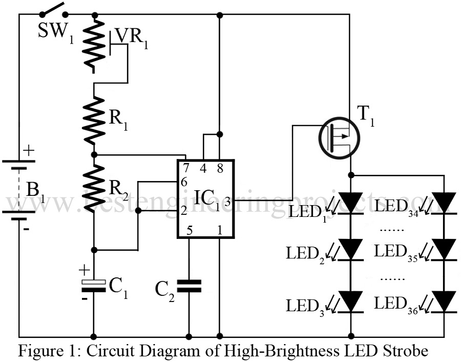 circuit diagram of high brightness led strobe