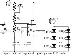 HighBrightness LED Strobe Using IC 555