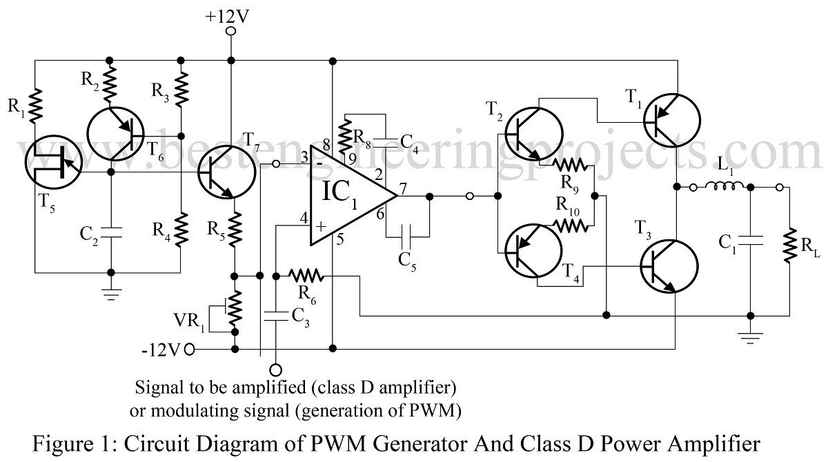 pwm generator and class d power amplifier. Black Bedroom Furniture Sets. Home Design Ideas