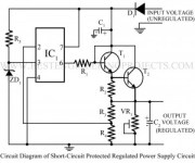 circuit diagram of short circuit protected regulated power supply