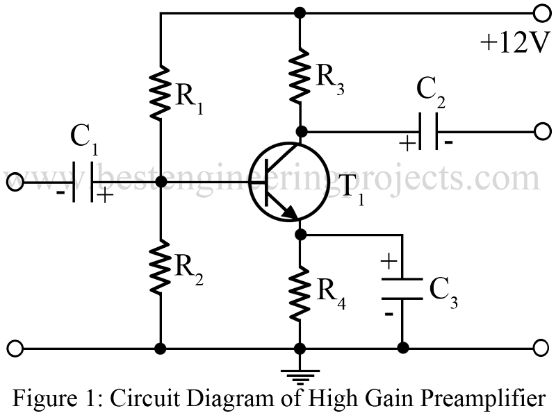 High-Gain Preamplifier Circuit Using Single Transistor