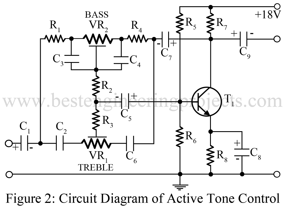 active tone control using single transitor