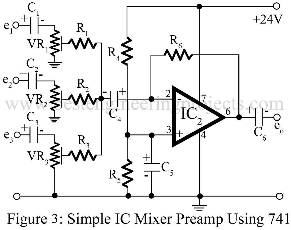 audio mixture circuit using 741