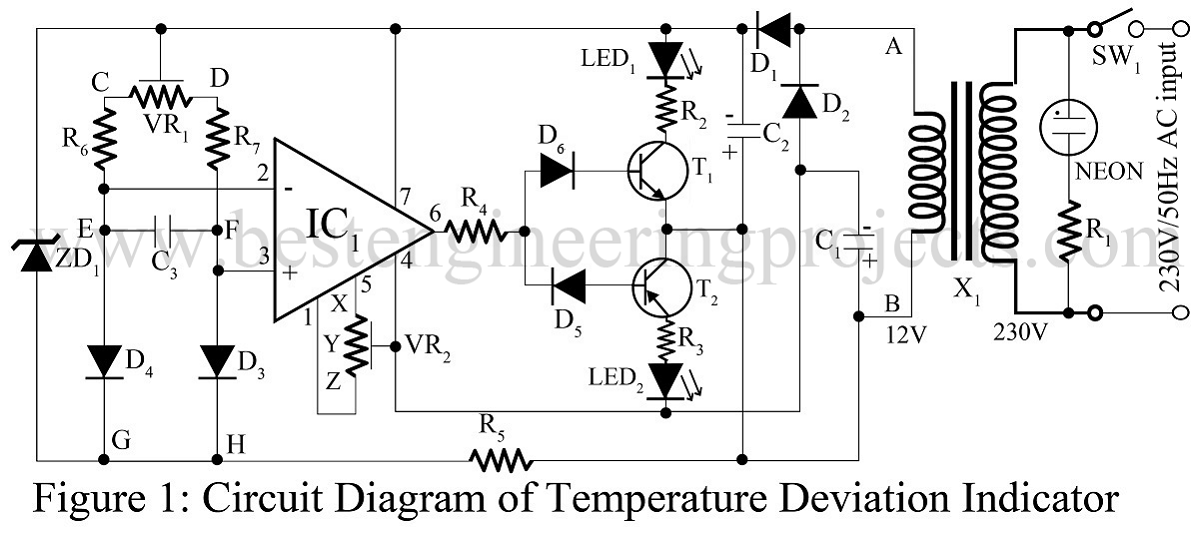 temperature deviation indicator using op amp 741 best. Black Bedroom Furniture Sets. Home Design Ideas