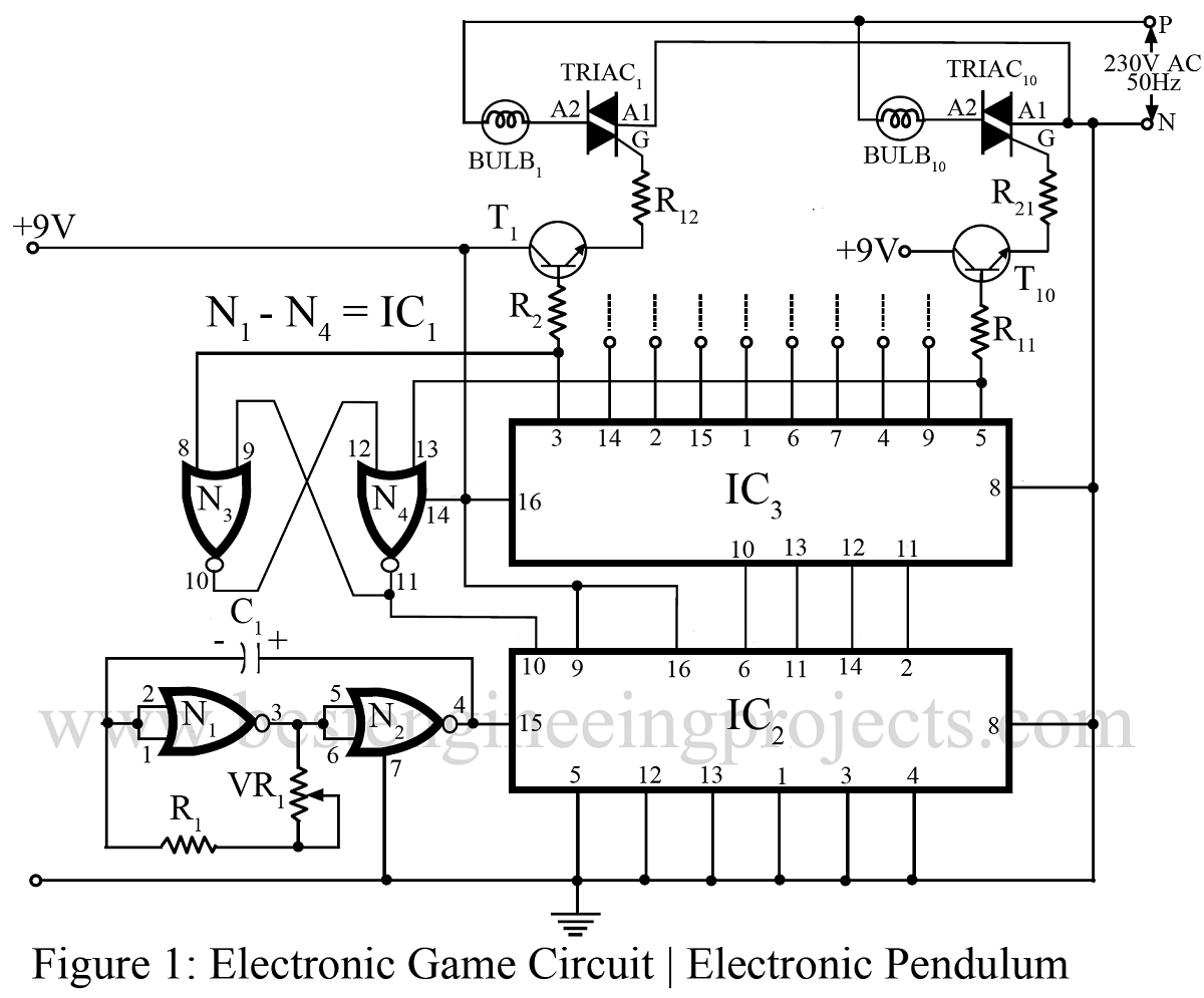 Electronic Game Circuit Electronic Pendulum