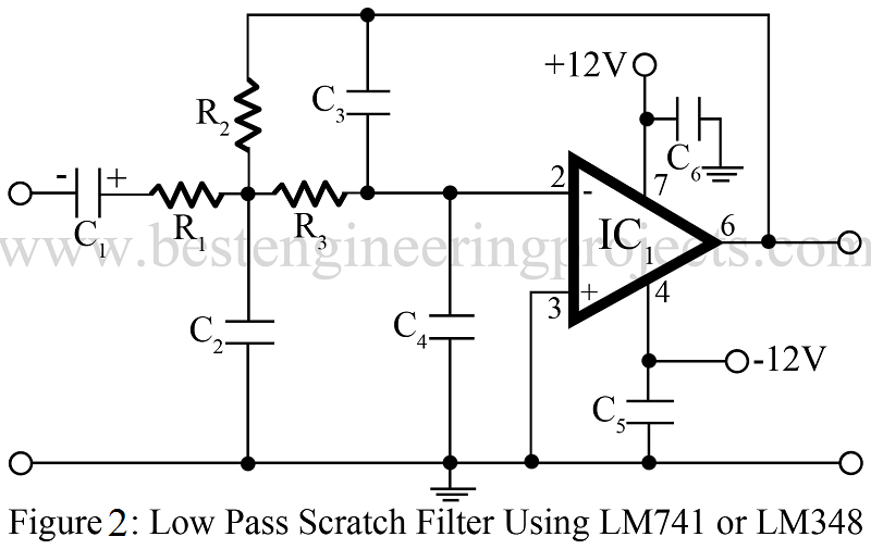 low pass filter circuit using LM741 or LM348
