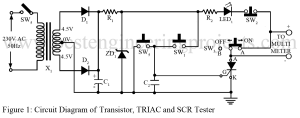circuit diagram of transistor triac and scr tester