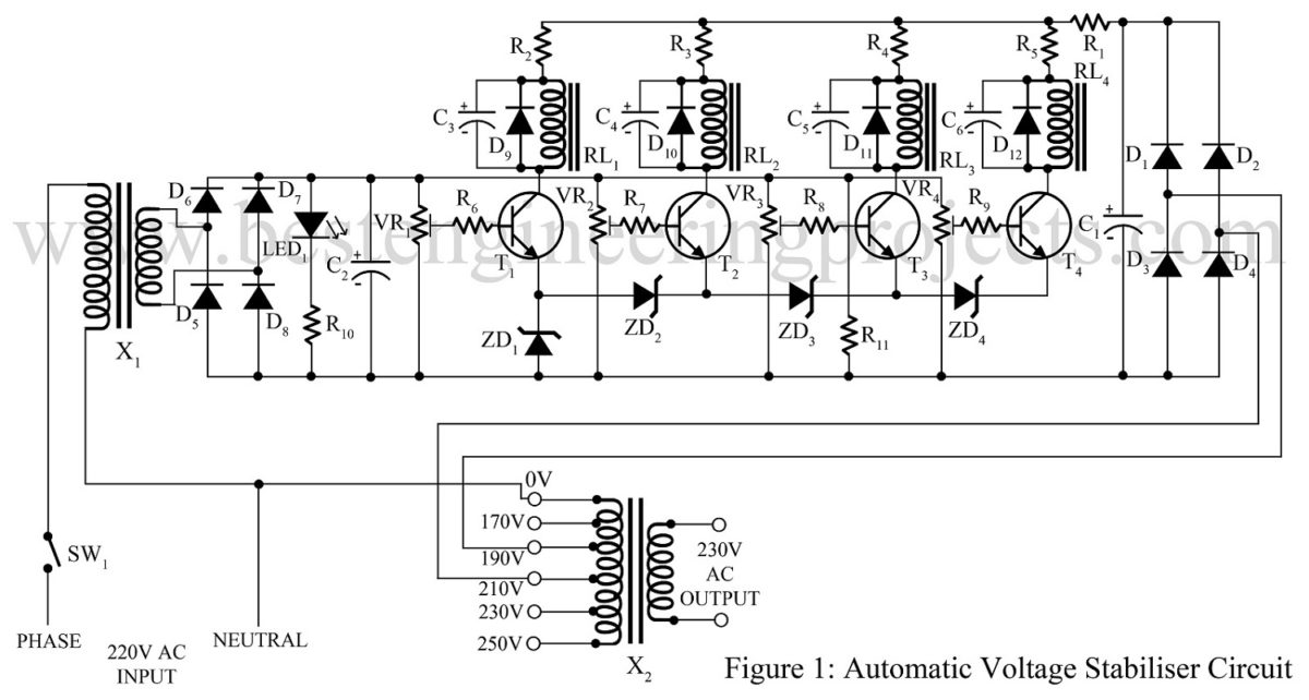 Automatic Voltage Stabiliser Circuit Best Engineering Projects: Voltage Stabilizer Circuit Diagram Pdf At Imakadima.org