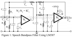 speech bandpass filter using LM387