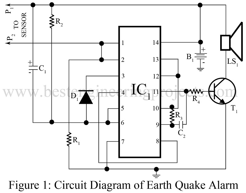 earth quake alarm using cd4011   Best Engineering Projects