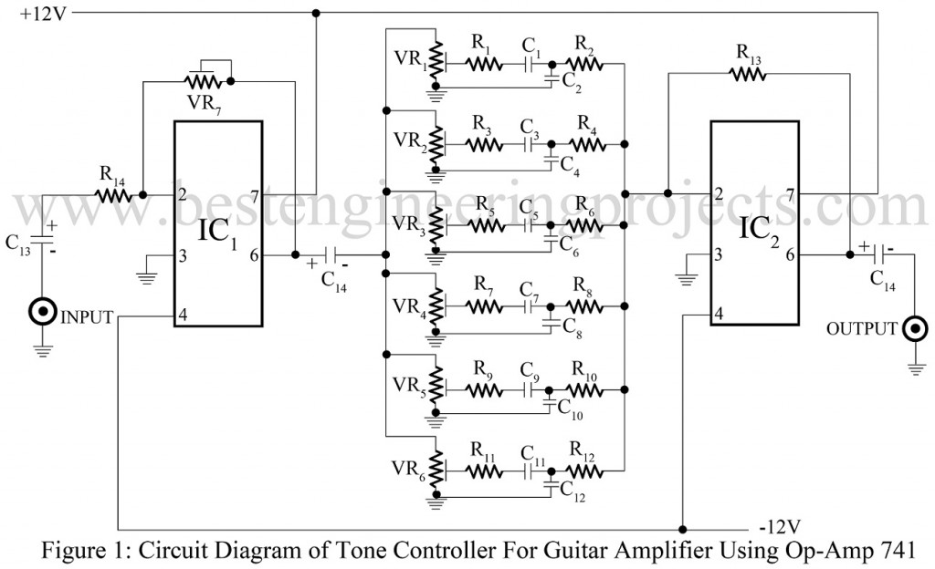 tone controller for guitar amplifier using op amp 741