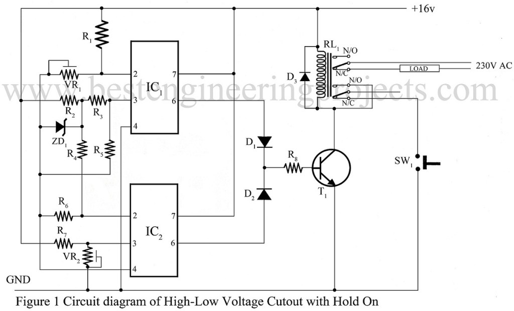 circuit diagram of high low voltage cutout using 741