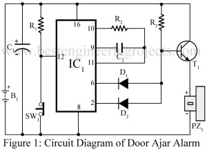 circuit diagram of door ajar alarm circuit