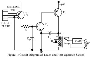 circuit diagram of touch switch cum heat operated switch