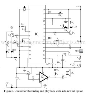 Circuit diagram of Recording and playback with auto rewind option