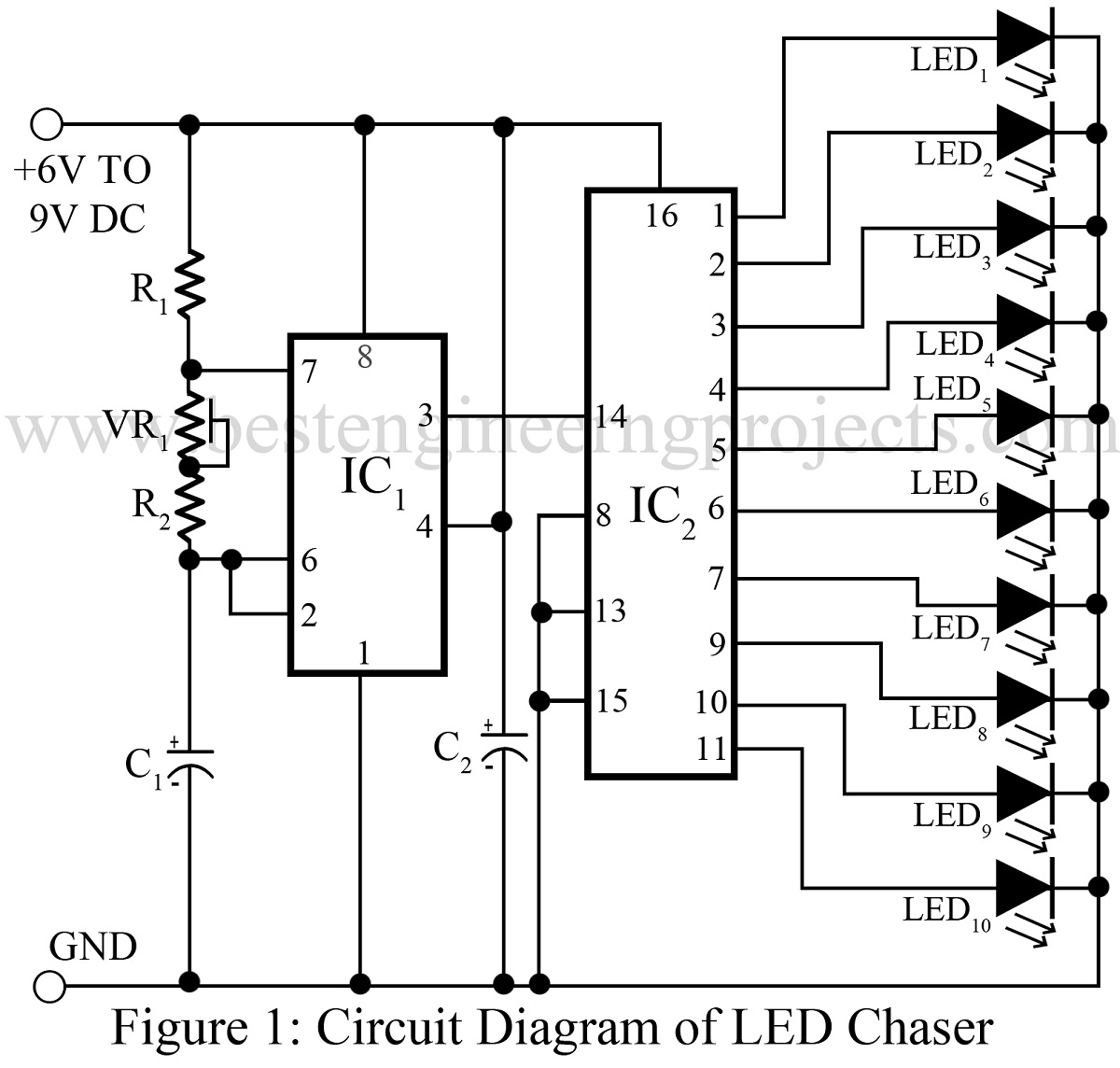 Led Chaser Circuit Diagram 26 Wiring Images Index 20 Sensor Seekiccom Of Chaserssl1 Best Engineering