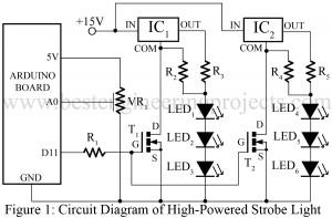 circuit diagram of high powered strobe light using arduino