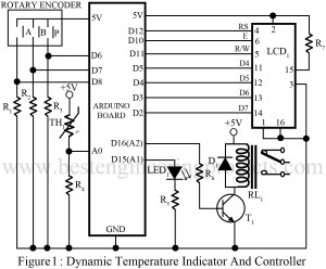 circuit diagram of dynamic temperature indicator and controller