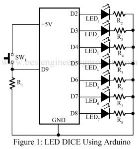 circuit diagram of ed dice using arduino