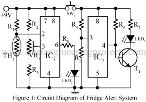 circuit diagram of fridge alert system