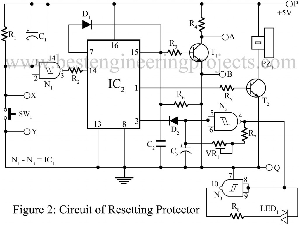 circuit diagram of resetting protector