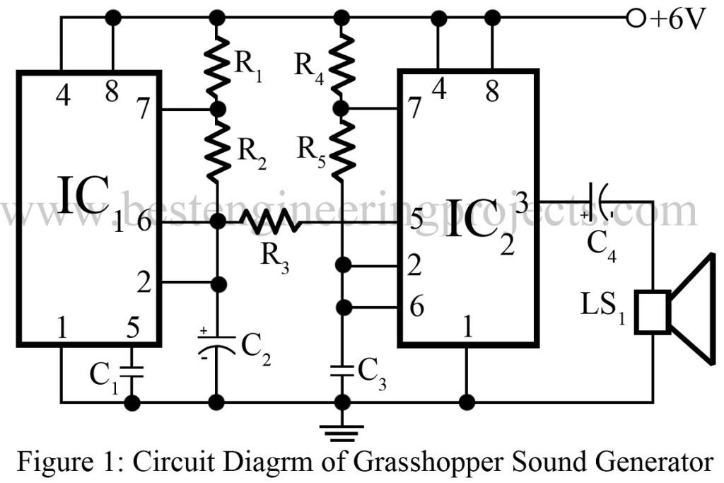 grasshopper sound generator circuit using 555 timer ic