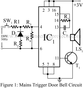 circuit diagram of mains trigger door bell