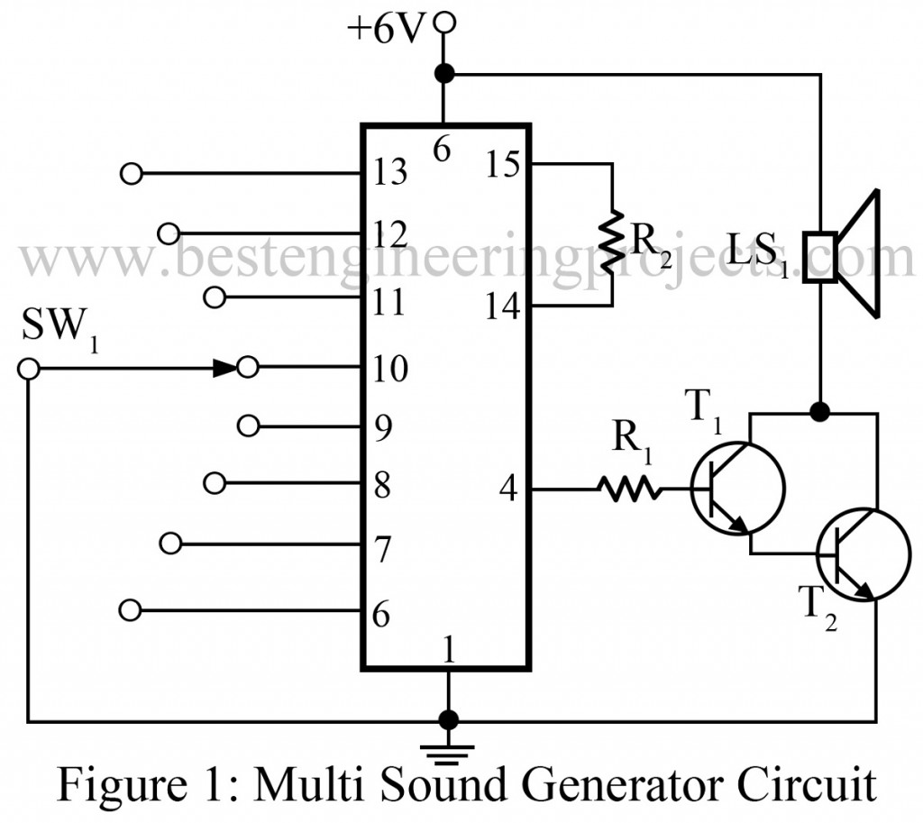 multi sound generator circuit rh bestengineeringprojects com Home Generator Wiring Diagram Electric Generator Diagram
