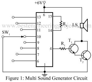 circuit diagram of multi sound generator
