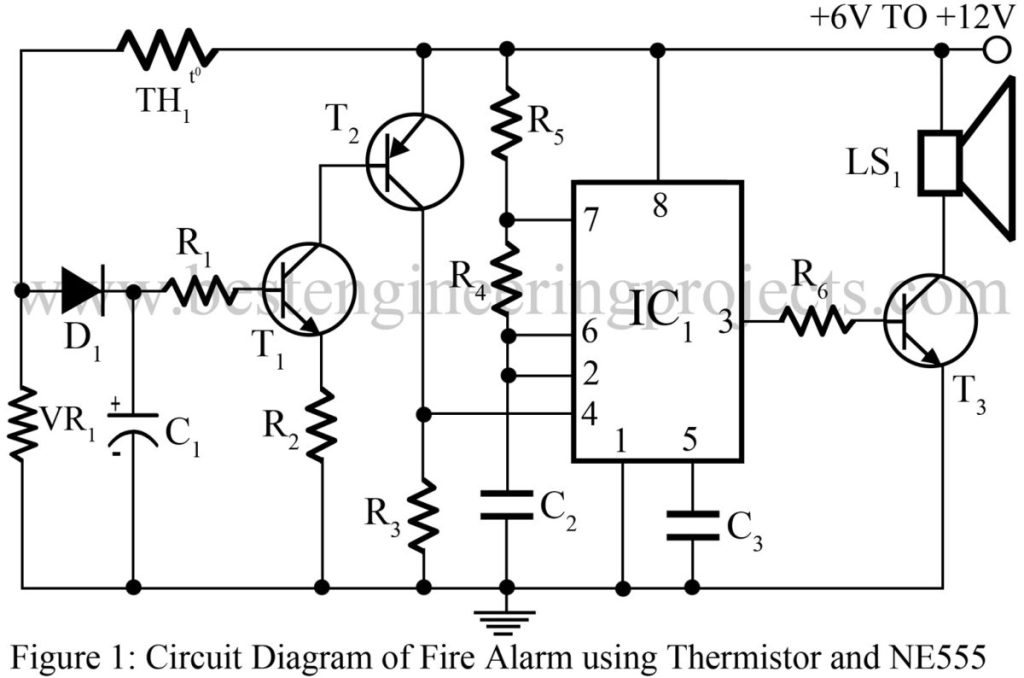 Fire Alarm Using Thermistor and NE555 | Best Engineering