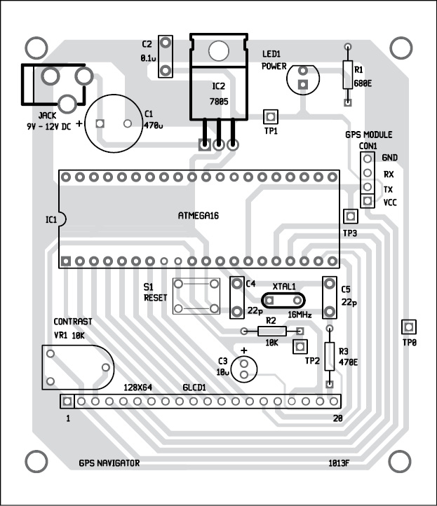 component side PCB design of GPS navigator circuit