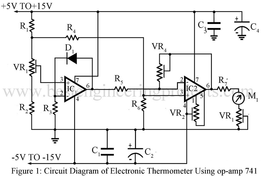 Electronics Thermometer Using Op Amp 741 Ic