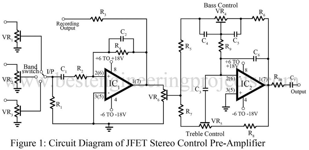 circuit diagram of jfet stereo control preamplifier 1024x498?resize=1024%2C498 jfet op amp based stereo control preamp best engineering projects  at crackthecode.co