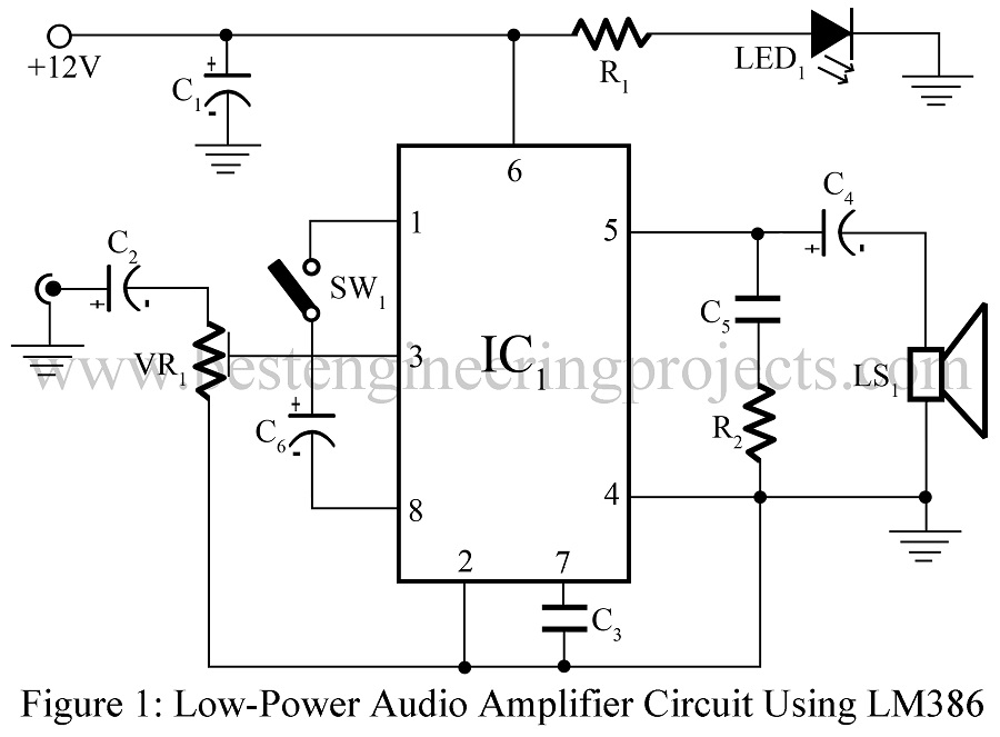 low power audio amplifier using lm386 best engineering projects. Black Bedroom Furniture Sets. Home Design Ideas