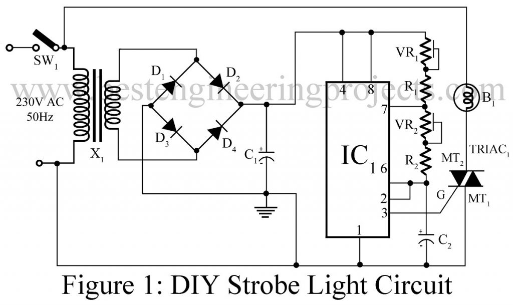 diy strobe light circuit rh bestengineeringprojects com high power strobe light circuit diagram police strobe light circuit diagram