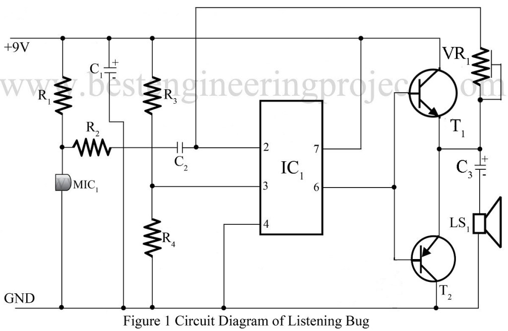 Listening bug using op amp 741 op amp 741 based projects for Home 741 741