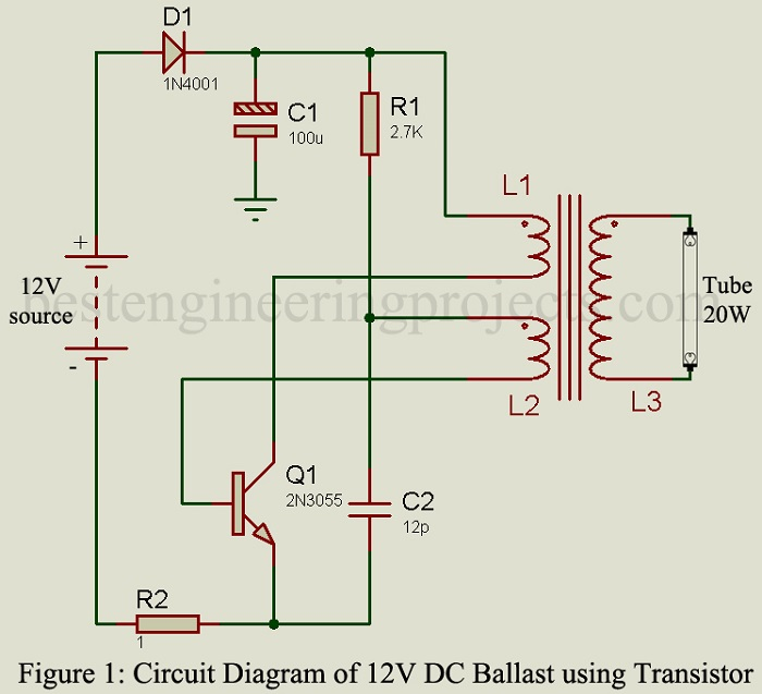 12v dc ballast circuit best engineering projects rh bestengineeringprojects com diy electronic ballast circuit electronic ballast circuit diagram fluorescent lamp