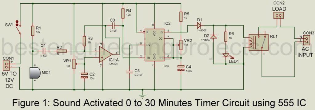 30 minutes timer circuit using 555