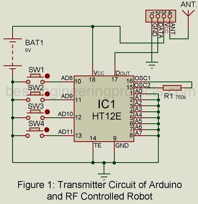 transmitter circuit of arduino and rf controlled robot