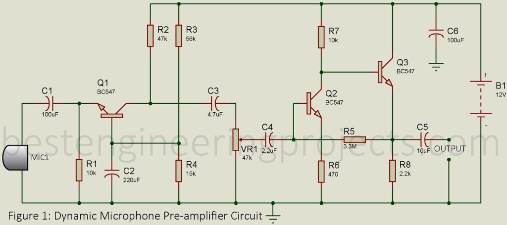 circuit diagram of dynamic microphone pre amplifier